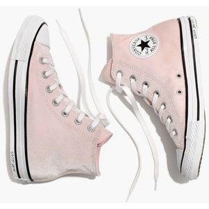 Velvet Converse High Tops in Arctic Pink